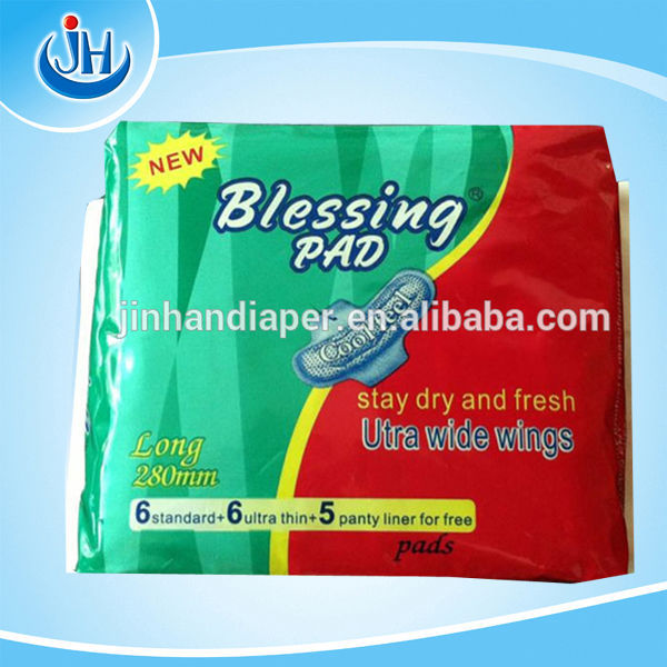 China sanitary napkin manufacturer of brand name Blessing pad with wings/disposable sanitary towel