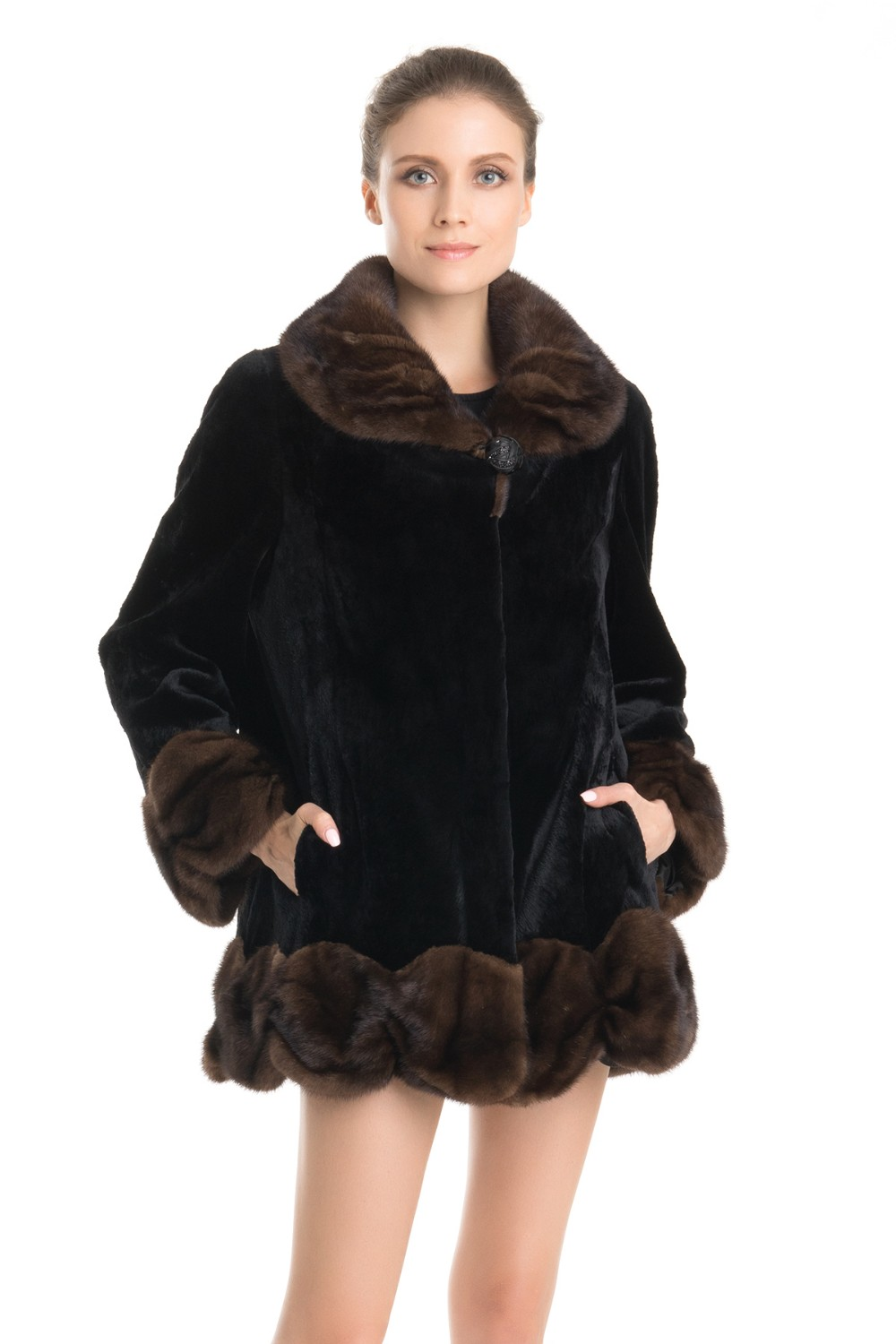 QD70709 High Fashion and Quality Winter Mink Fur Coats Jackets with Flounced Trim Alibaba Express Turkey