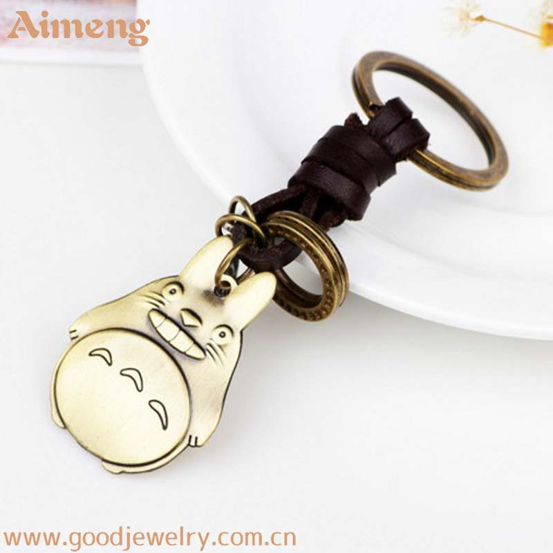 New cute cartoon animation dragon cat key chain metal small gift idea leather car key chain
