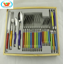 """laguiole "" multi color 24 pcs each steak knives tea spoon big spoon fork in 6 pcs tableware dinner set cutelry set"