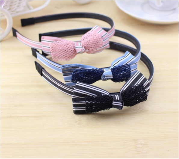2017New design bowknot hair band girls plastic hair band with bow for girls accessories