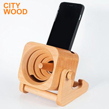 natural wood sound standard amplifier with phone dock