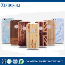 Metal Aluminum frame + wood bamboo grain Hard PC back Mobile phone case for Apple iPhone 6S 4.7 Inch For iphone 6S Plus 5.5""