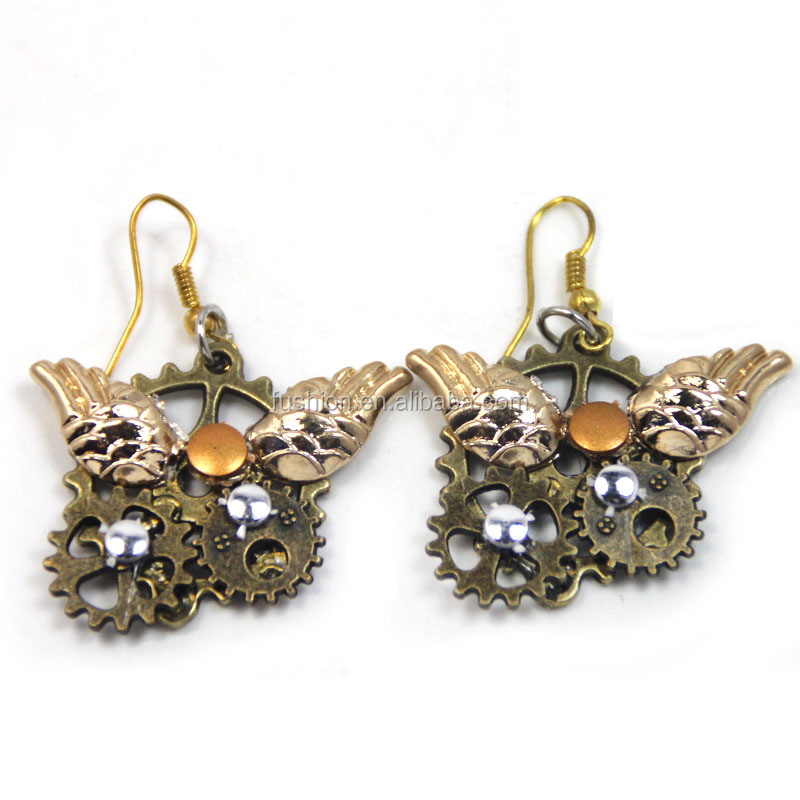 Antique Bronze 3pcs Gears and a pair of wings Pendants Steampunk Jewelry Earrings Women