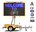 OPTRAFFIC Outdoor Solar Power Trailer Display Screen Message Board Portable Programmable Full Matrix Led Sign