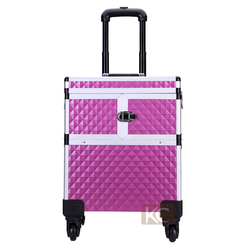 Mini Professional Aluminum Cosmetic Station With Multi-functional Compartment & Tool Panel Holder,With Detachable Trolley System