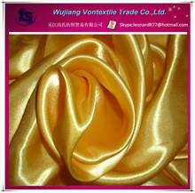 WUJIANG factory supply 100% polyester cire satin fabric for dress,down jacket,sleep shorts,trousers,cloth,panties,etc