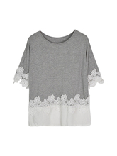 Women's T Shirt Lace Patchwork O Neck Sweet Top