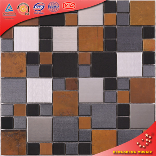 SA44 Stickers for kitchen tiles glossy porcelain tile stainless steel mosaic backsplash