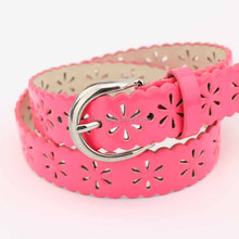 Women and kids fashion punching belt with Candy color glazed PU