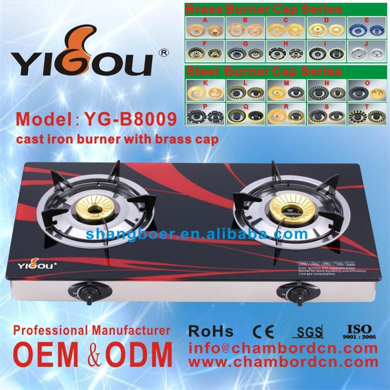 YG-B8009 tempered glass gas hob 5 burner table top gas cooker