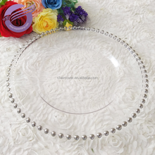 PZ22640 Wholesale round glass silver clear beaded charger plates