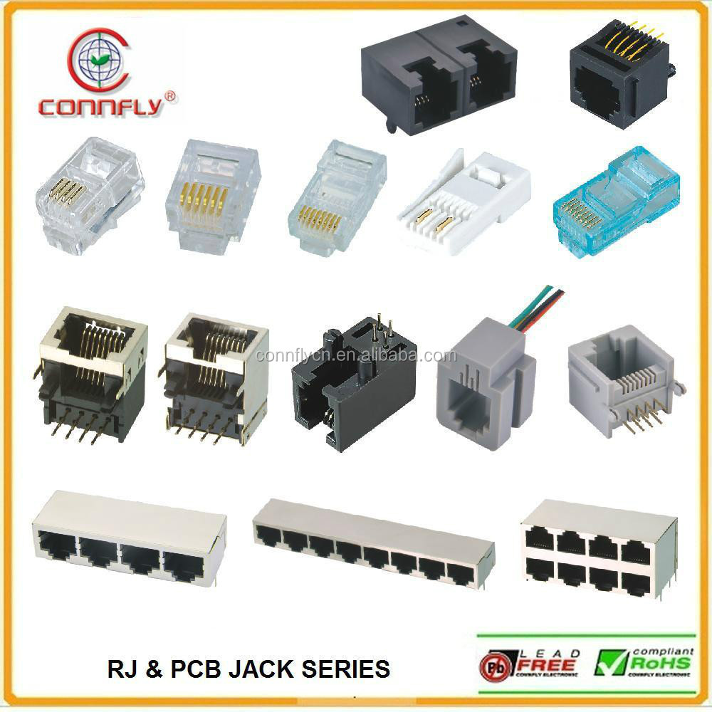 Top level RJ11 RJ45 Connector and PCB Jack and Modular Jack