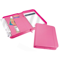 Pink Zip A4 Conference Folder Business Organizer Womens Leather Portfolio