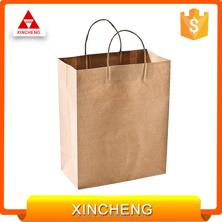Chinese manufacturer logo printed brown kraft paper shopping bag
