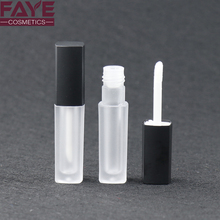 Customized fashion empty black frosted square mini plastic lip gloss bottle/ lip gloss container tube