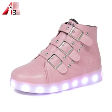 Wholesale footwear new design Ladies light shoes women dancing shoes luminous high cut LED shoes
