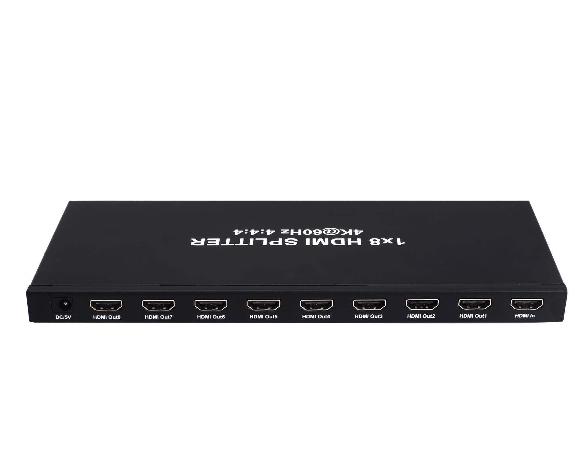 8 port HDMI 4k/60hz YUV444 AV Audio Video Splitter support 18G HDR10 HDCP 2.2