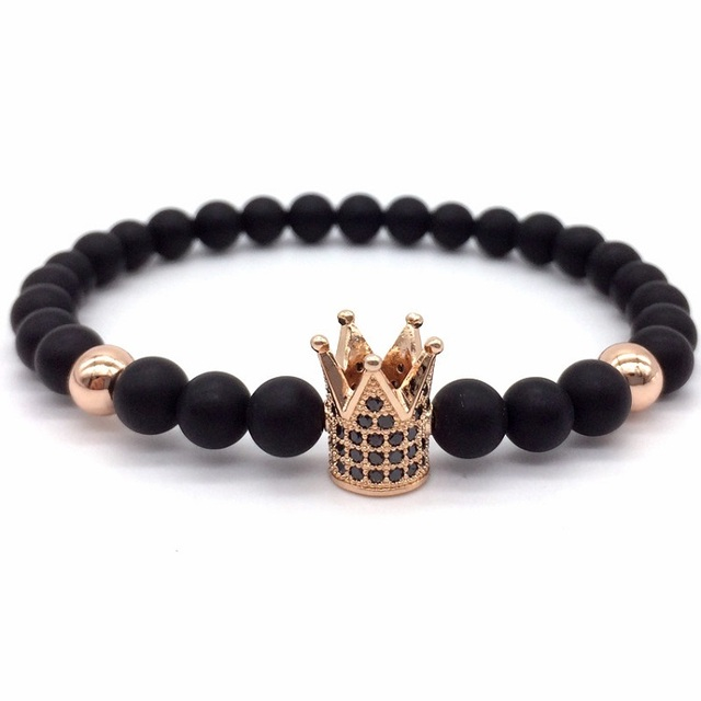 2016 New Brand Trendy Imperial Crown Charm Bracelets Men Natural Agate Stone Beads For Women Men Jewelry Pulseras Mujer
