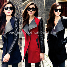 Ladies Winter Long Warm Leather Sleeve Jacket Coats Trench