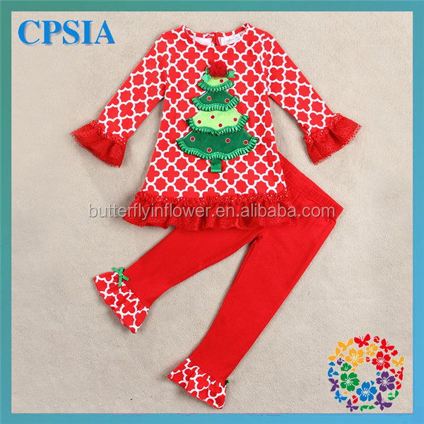Long Sleeves Ruffle Blouse set Wholesale Beautiful Red White Green Christmas Tree Christmas Costume Baby Christmas Clothes