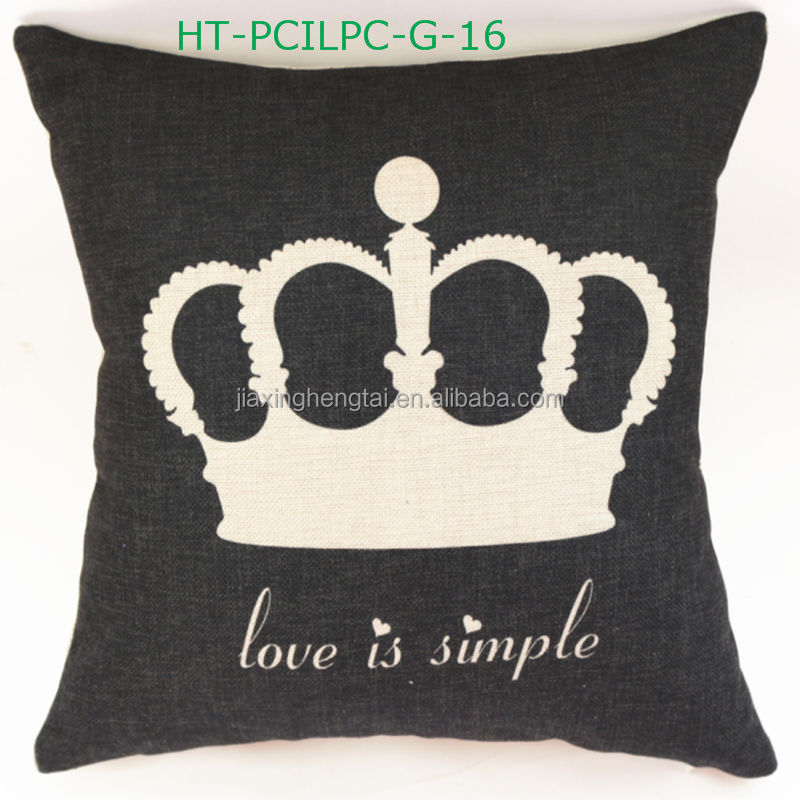 New Style Decorative, Sofa Car Love Couple Retro Cushion Linen Cotton Print Cushion Cover Throw Pillow Case Checkout