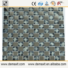 LD12 grey and aluminium cold spary 8mm glass mosaic tile