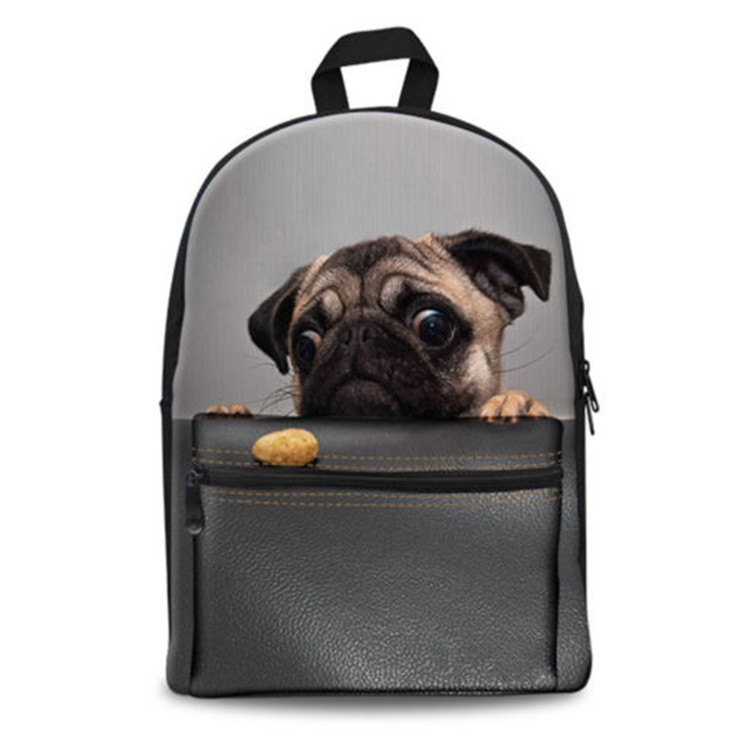 School Bags Pug Dog Canvas Backpack Travel Hiking Rucksack Ladies Girls