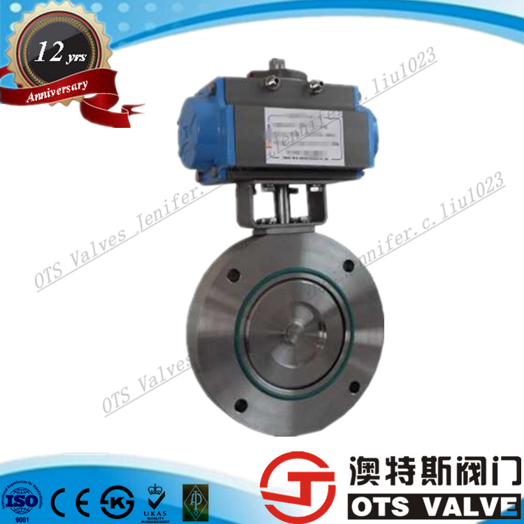DIN Standerd Three Eccentric Pneumatic Actuator Double Flange Butterfly Valves