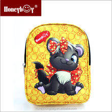 new products polyester animal printed yellow kids dog backpack