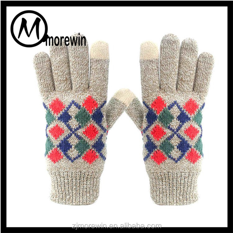 Morewin gloves wholesale jacquard pattern colored fashion 2 finger touch screen gloves