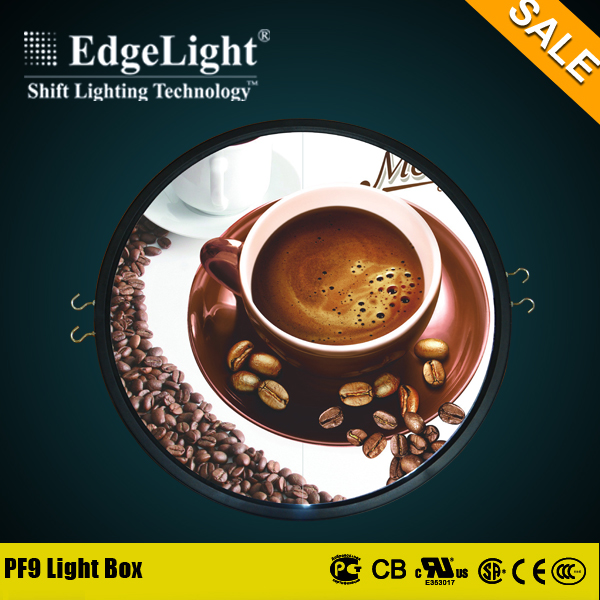 Edgelight plastic round advertising decorative adjustable picture frame light box with special discount