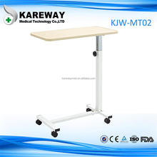 Portable hospital over bed tray table with drawer