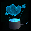 Amazon 2018 hot new design 3D illusion fall in love heart shape deco 3D lamp with flashing colorful led night light