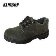 high quality genuine suede cowhide leather steel toe safety shoe with plush lining footwear