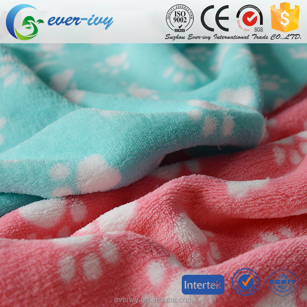 cheap price china supplier animal foot printed coral fleece fabric