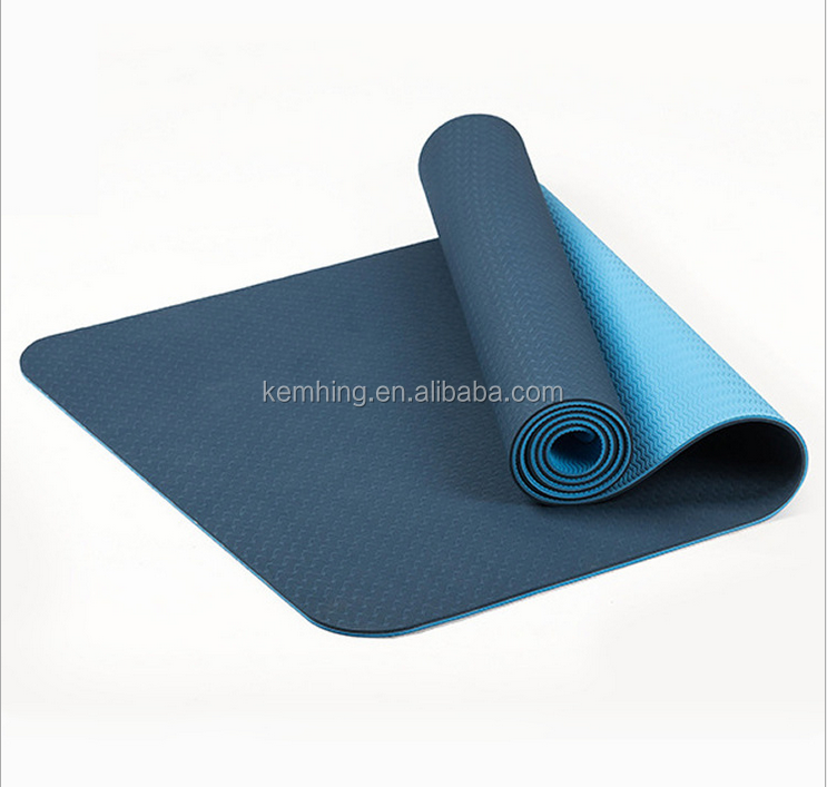 TPE natural rubber yoga mat manufacturer durable double color mat for yoga