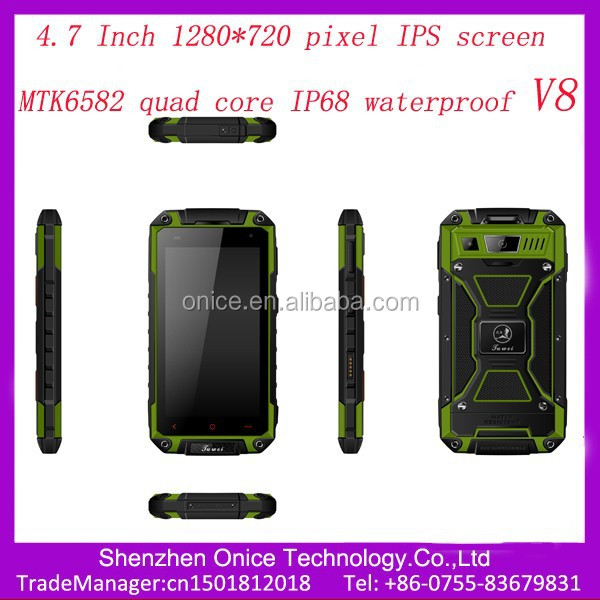 "4.7"" V8 IPS 1280*720 unlock rugged mobile MTK6582 quad Core rugged phone 2 dual sim ip67 rugged smart phone 8.0 MP camera"
