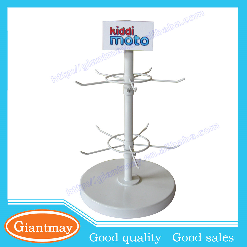 2 tier rotating boutique store countertop floor stand displays with 10 pieces hooks