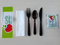 Heavy weight duty individual wrap disposable plastic cutlery pack, spoon, fork, knife