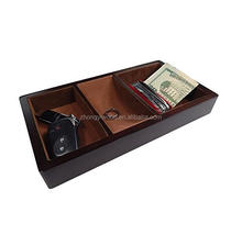 Wooden Valet Tray - Brown - 3 Compartment Leatherette Organizer Box for Wallets, Coins, Keys, and Jewelry