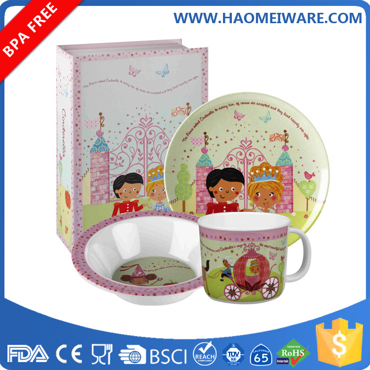 children&baby safety set melamine bamboo kids dinner set