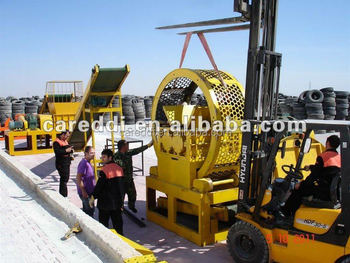 High capacity low power consumption Waste tire shredder