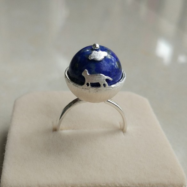Factory Wholesale Fashion Cat Earth Natural Stone Lapis Lazulis 925 Sterling Silver Ring for Gift