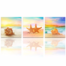 Modern Seascape Giclee Canvas Prints/ Seashell on Beach Landscape Canvas Pictures/Wall Decor Seaview Poster