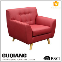 Air Leather Sofa Chair Indoor Furniture Leather Sofa Chair With Tufted Low Backrest In Brief Style