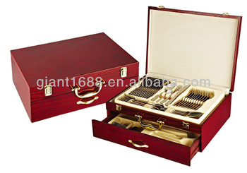 72 pcs travel cutlery set packing in the wooden case