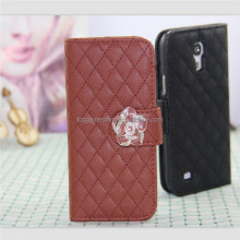 Wallet leather case for samsung galaxy s4 mini i9190 diamond case