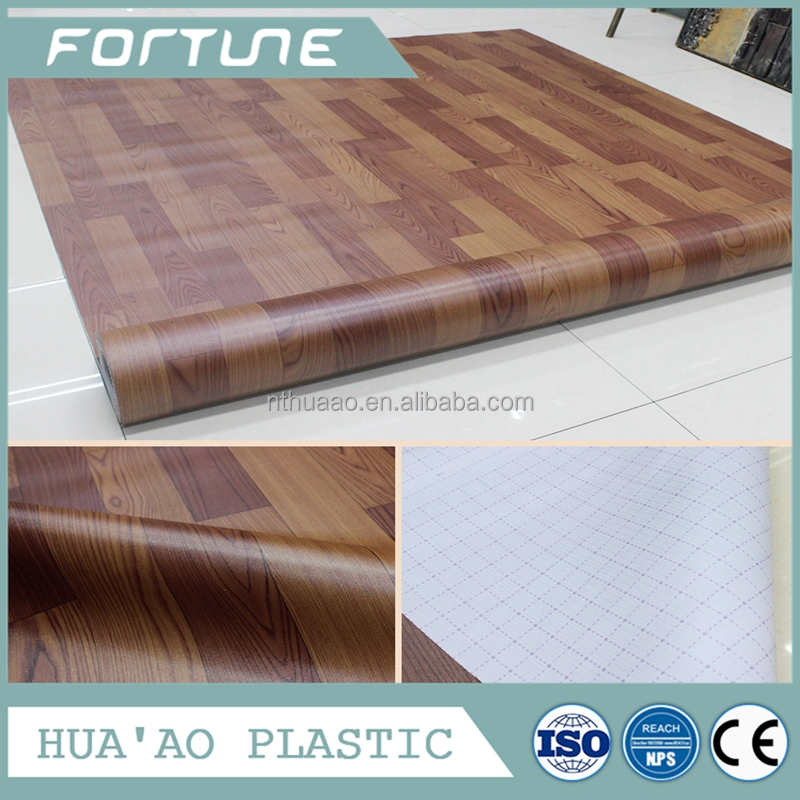 PVC 2mm thick cover vinyl wood laminate flooring sheet office decorative floor tiles