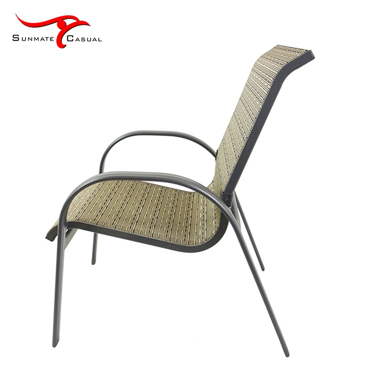 Outdoor Stackable Aluminum Sling Back Chairs High Back Patio Chairs with Mesh Fabric